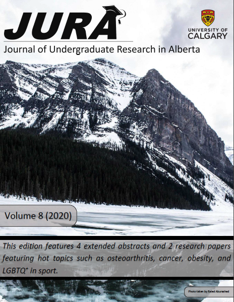 Cover image of the JURA 2020 Fall Edition, featuring the journal logo, the logo of the University of Calgary, and a winter landscape showing trees covering a snowy mountainside.